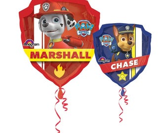 """25"""" Paw Patrol Chase and Marshall,  Large Double sided Paw Patrol Foil Balloon, Paw Patrol Party Decor"""