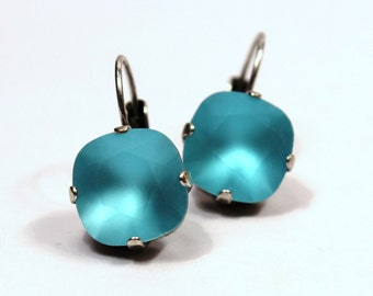 Turquoise Blue Matte Crystal Drop Earrings Classic Sparkling Teal Aqua Seafoam Solitaire Swarovski 10mm 12mm Tropical Matt Frosted Etched