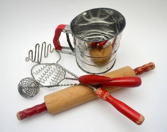 Vintage Lot of Red Handled Kitchen Utensils, Chippy Red Paint, Pump Action Beater, Sifter, Rolling Pin, Masher, Whisk, circa 1940s-1950s