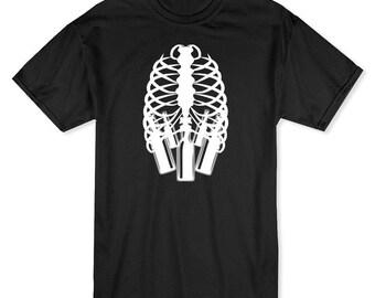 Skeleton Ribs Beer Bottles Inside Men's T-shirt