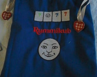 RUMMIKUB, storage bag for the game, machine embroidery on canvas colored cotton, fully lined with a red