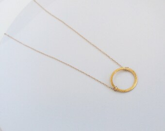 Halo • Circle vermeil charm // brushed round vermeil charm // 14k gold filled