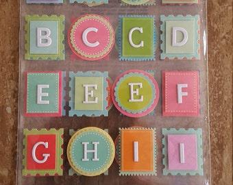 E42 - Martha Stewart Crafts - Bright Alphabet Block Stickers - 40 PC.