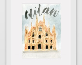 Around the World Watercolor Prints - Milan