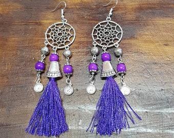 Purple dreamcatcher earrings