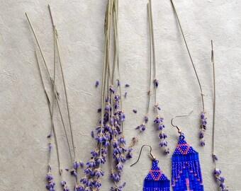 Purple Hoops // Native American Beaded Earrings / Pink / Boho Earrings / Hippie Jewelry / Festival Style / Southwestern / Hoop with beads