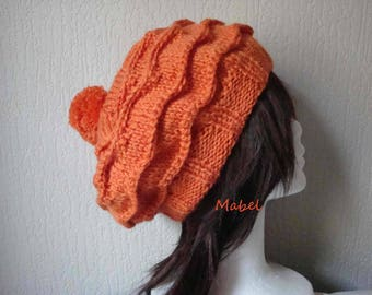 Orange hat with Pompom, hand knitted, warm, soft French wool