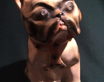 Antique Chalkware Pug with Harness