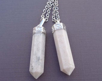 Moonstone Necklace /Natural Moonstone Silver Necklace / Moonstone Point Necklace / Boho June Birthstone Necklace /GP14