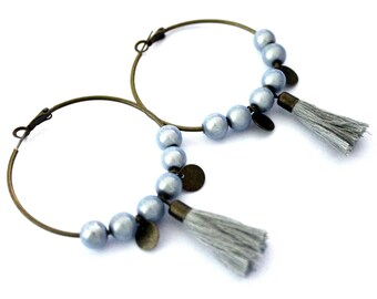 Large hoop earrings gray with Pompom and sequin drops-vintage retro brass