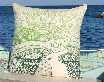 Pillow Casita Ibiza Hippy Lime & Dark 50 x 50 hand made with love screen printed cushion