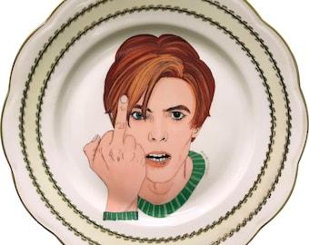 David Bowie - Green - Watercolor - Vintage Porcelain Plate - #0575