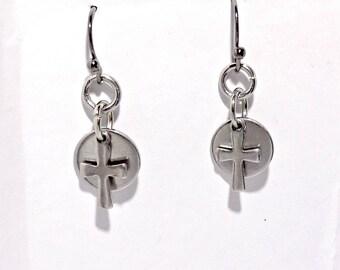 Cross Charm Earrings , Small Cross Earrings ,  Baptism Earrings , Spiritual , Gift's For Her , Stainless Steel , Christian Jewelry
