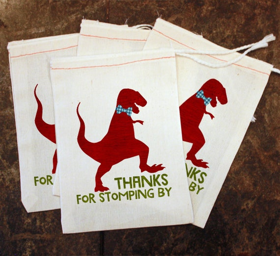 Dinosaur Birthday Party Favor Bags White Muslin Bag Thanks