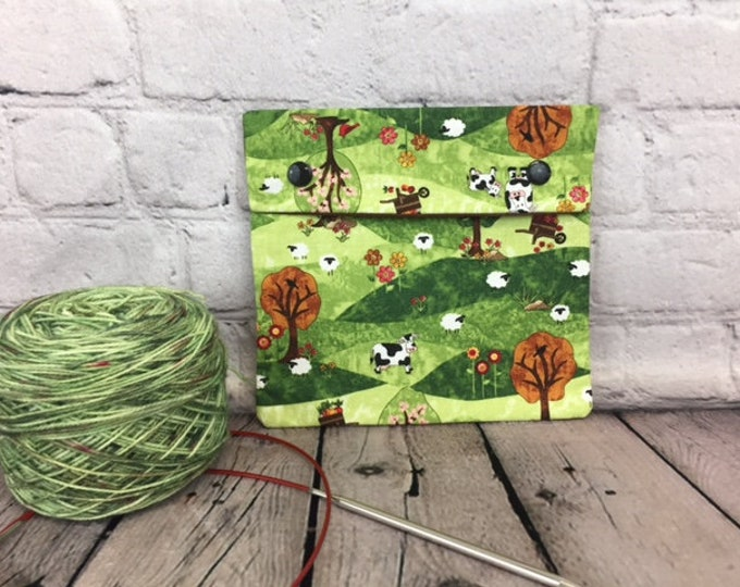 Sheep and Cows Farm Circular Knitting Needles Case or Knitting Notions Case, Crochet notions case, Accessories case, Circular Case
