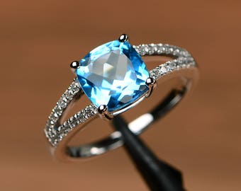 Swiss blue topaz ring split band engagement ring blue gemstone jewelry November birthstone ring