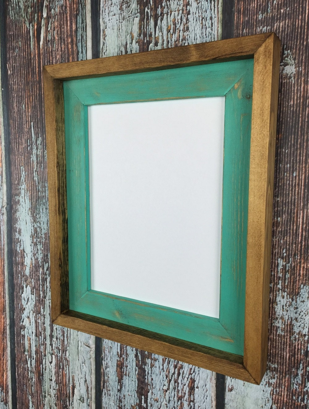 8.5 x 11 Aqua Rustic Weathered Stacked And Stained Picture Frame ...