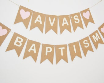Personalised Baptism Bunting, Custom Christening Banner, Name Bunting, Baby Girl, Baby Boy