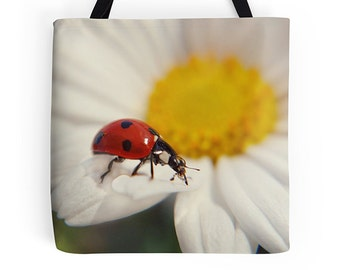 Ladybird bag, ladybug tote, colourful bag, colorful tote, birthday, gym bag, market bag, shopping bag, girl's bag,shoulder bag, grocery tote