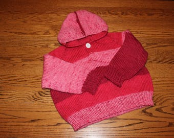 Child's Hoodie - Hoodie - Hand Knit Child's Hoodie - Knit Hoodie - Girl's Hoodie - Girl's Knit Hoodie - Knitted Hoodie - Knitted Sweater