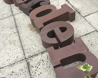 GARDEN...reclaimed business signage,aluminum letter ~ home industrial metal sign/yard wall decor ~ outdoor design ~ rare find ~ display