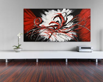 Abstract Painting Extra Large Modern Wall Art Contemporary Panoramic Interior Decor Design Palette Knife Painting by Kathleen Artist