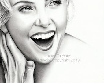 Ritratto di Charlize Theron - Stampa d'arte firmata - Disegno grafite