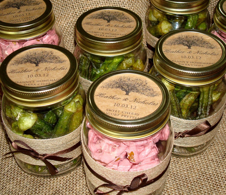 Mason Jar Wedding Favor Ideas: 2.5 Custom Mason Jar Labels Rustic Kraft Paper Tree Themed