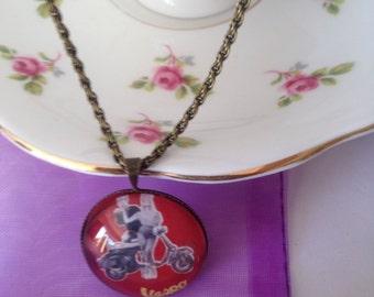 Retro jewellery, Vintage jewellery, Advertising jewellery, Quote jewellery, Vespa gift, gift for women, Vespa pendant, 1950's icon gift,