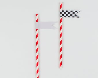 Printed Straw Flags - Race Car