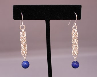 Lapis Lazuli and Chain Maille Earrings