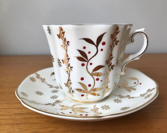 Gold Tea Cup and Saucer, Royal Grafton Vintage Teacup and Saucer, Red Dots and Gold Leaves Bone China