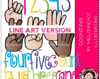 Counting clip art - LINE ART