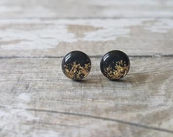 Black and gold earrings, Gold leaf earrings, Gold and black stud earrings, Modern earrings, Black studs, Elegant earrings, Black gold studs