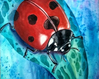 Ladybug on Onion Plant, Original Watercolor Painting