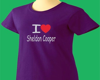 Big Bang Theory T-Shirt I Love Sheldon Cooper TBBT Womens