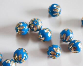 SALE Deep Blue floral spheres - Floral Cloisonné Meena beads (2) 13mm