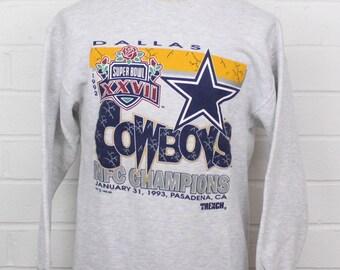 Vintage 1990s Dallas Cowboys Super Bowl XXVII NFC Champions 1992 Grey Crew Neck Size Large Sweatshirt