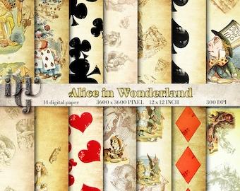 Alice in Wonderland digital paper pack vintage illustration digital scrapbook papers Mad Hatter Rabbit Hole Cheshire Cat digital background