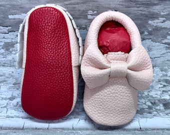 Baby Pink Red Sole Baby, Red Bottom Moccasin Baby Pram Shoes - Like Mummy's Louboutins but Designer Inspired! Louboutin Baby!