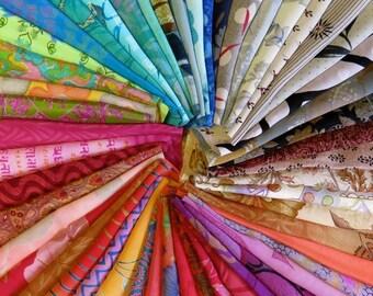 50 pieces of sari remnants, fabric scraps A