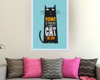 Cat poster print - cat picture gift - cat lover gift - cat wall hanging - home decor for cat lover - available with or without frame -