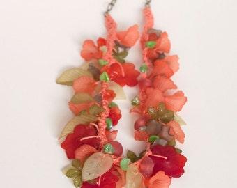 Juicy Melon crocheted garden necklace