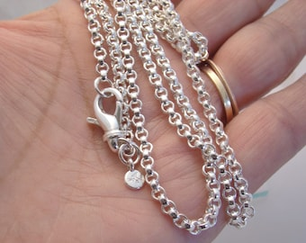 Heavyweight Belcher Rolo Chain CHOOSE YOUR LENGTH Solid Sterling Silver Necklace Sturdy 3.5mm Links Durable & Chunky Heavy Chain Add a Charm