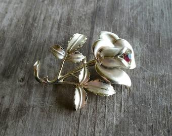 Florenza Flower Brooch with Aurora Borealis Rhinestone Accent