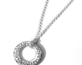 What Goes Around Comes Around necklace - Circle of Karma pendant - white circular disc with meaningful handwriting...