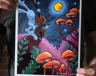 Rabbit Playing Music by Moonlight; Fine Art Print