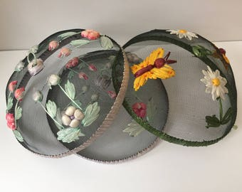 Vintage Mesh Picnic Food Domes/Protectors with Flowers and Butterflies