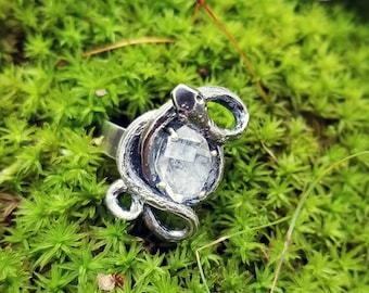 serpent guardian ring - sterling silver and herkimer diamond