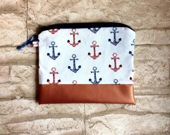 Pencil case / cosmetics bag • anchor with copper •